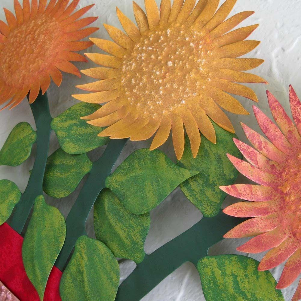 Buy A Hand Crafted Metal Sunflower Wall Art Sculpture Floral Art For Metal Sunflower Wall Art (Image 4 of 20)