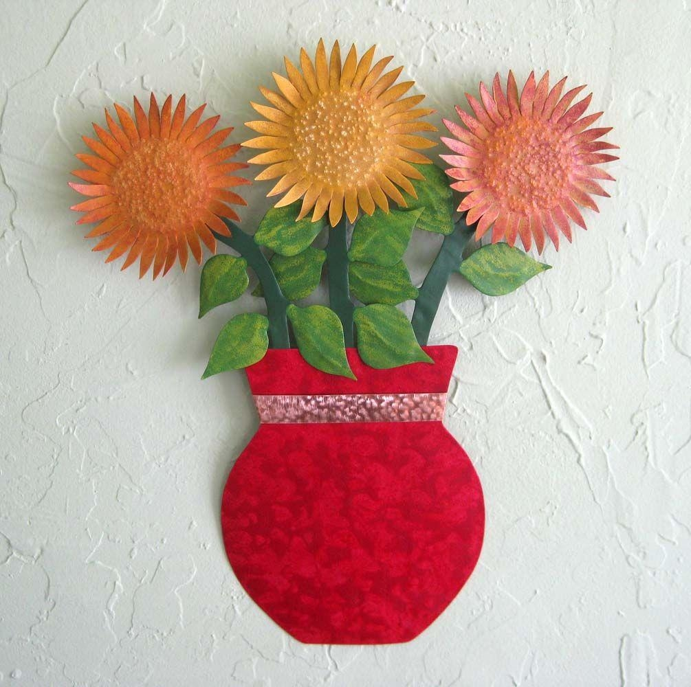 Buy A Hand Crafted Metal Sunflower Wall Art Sculpture Floral Art Inside Metal Sunflower Wall Art (View 14 of 20)