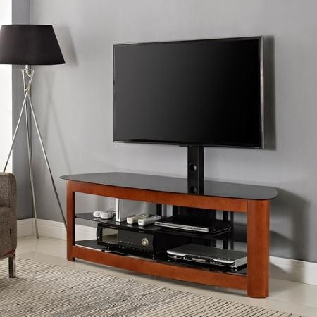 Buy Basma Cherry Finish Wood Tv Stand Entertainment Center With 2 With Regard To Best And Newest Cherry Wood Tv Cabinets (Image 7 of 20)