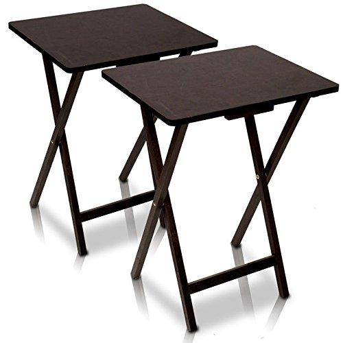 Buy Furinno 12081Ex Folding Tv Tray Table 2 Pc Set, Espresso At Within Recent Folding Tv Tray (Image 2 of 20)