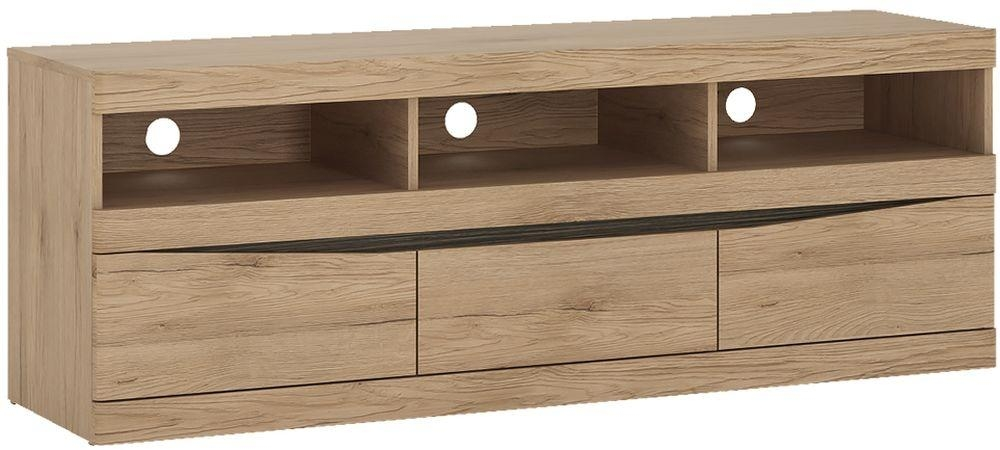 Buy Kensington Oak Tv Unit – Wide 3 Drawer Online – Cfs Uk Pertaining To Newest Wide Oak Tv Unit (Image 7 of 20)