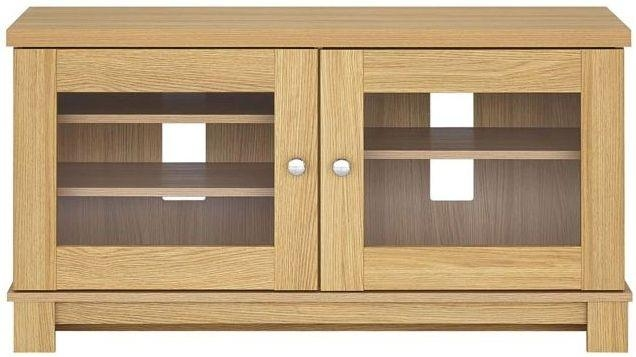 Buy Kingstown Dalby Oak Glass Display Unit – Corner Online – Cfs Uk Regarding Most Recently Released Oak Tv Cabinets With Doors (View 14 of 20)
