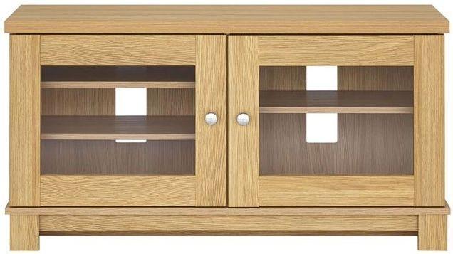 Buy Kingstown Dalby Oak Glass Display Unit – Corner Online – Cfs Uk Regarding Most Recently Released Oak Tv Cabinets With Doors (Image 5 of 20)