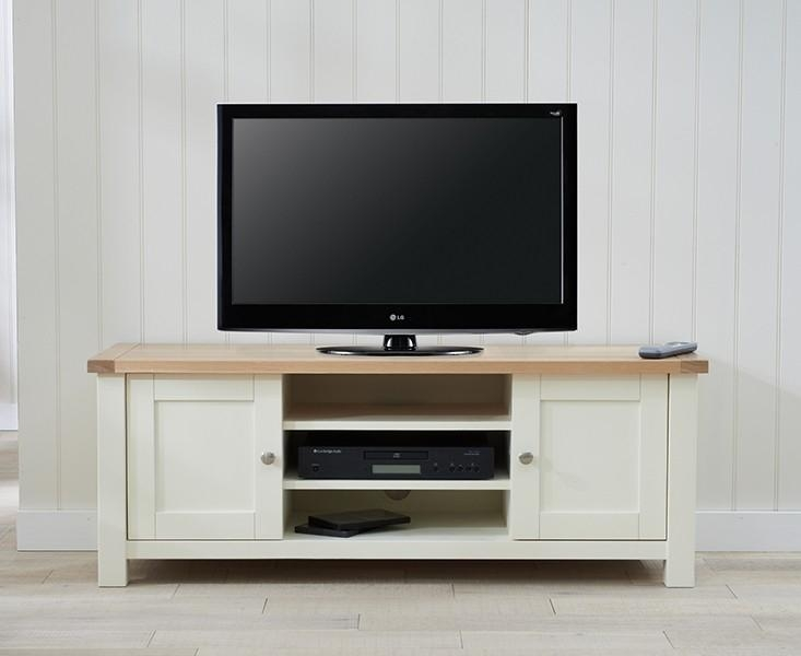 Buy Mark Harris Sandringham Oak And Cream Tv Unit Online – Cfs Uk With Latest Cream Tv Cabinets (View 3 of 20)