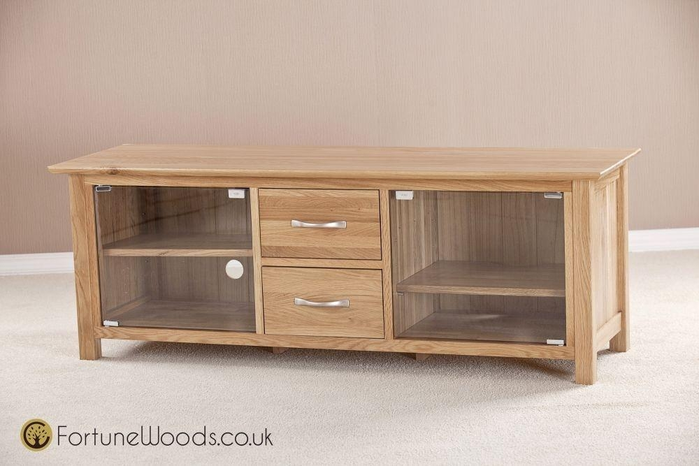 Buy Milano Oak Tv Unit – Large With Glass Door Online – Cfs Uk Inside Most Current Oak Tv Cabinets With Doors (View 6 of 20)