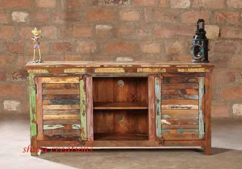 Buy Online Reclaimed Wood Tv Cabinet For Living Room, Wholesale With Most Popular Recycled Wood Tv Stands (View 9 of 20)