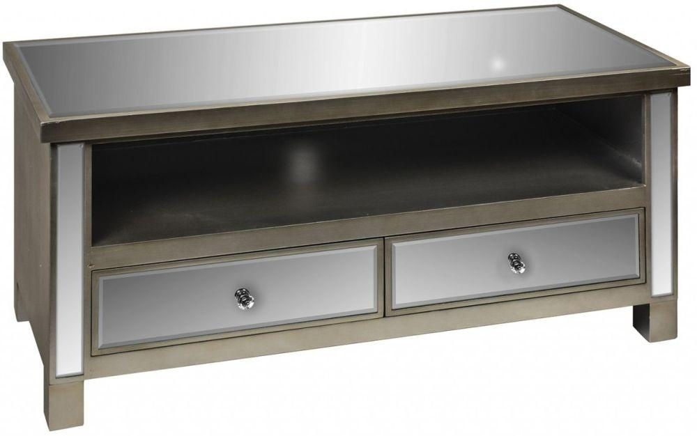 Buy Opera Mirrored Tv Cabinet With 2 Drawer Online – Cfs Uk In Current Mirrored Tv Cabinets (Image 6 of 20)