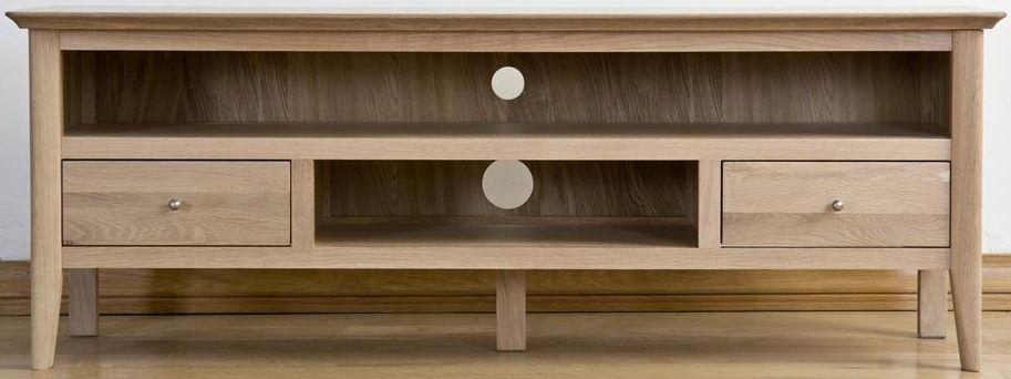 Buy Sorrento Oak Tv Cabinet Large Online – Cfs Uk For 2018 Large Tv Cabinets (View 4 of 20)