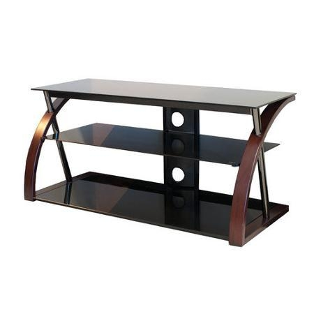 "Buy Techcraft 48"" Wood, Metal And Glass Tv Stand For Tvs Up To 55 For Newest Wood Tv Stand With Glass (Image 6 of 20)"
