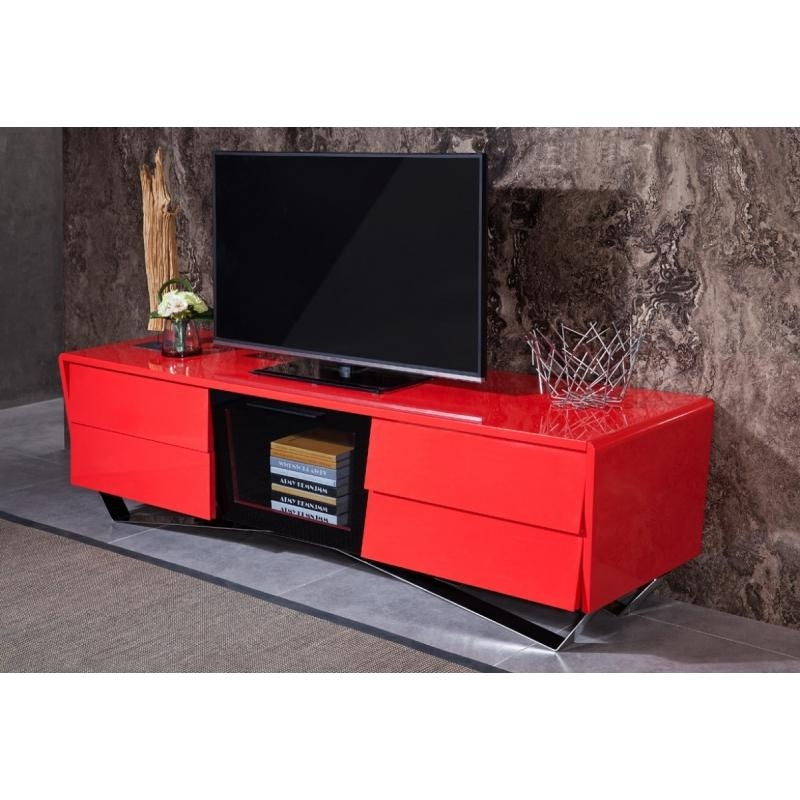 Buy The Modrest Max Modern Red Tv Standvig Furniture With Regard To Newest Red Tv Stands (Image 5 of 20)