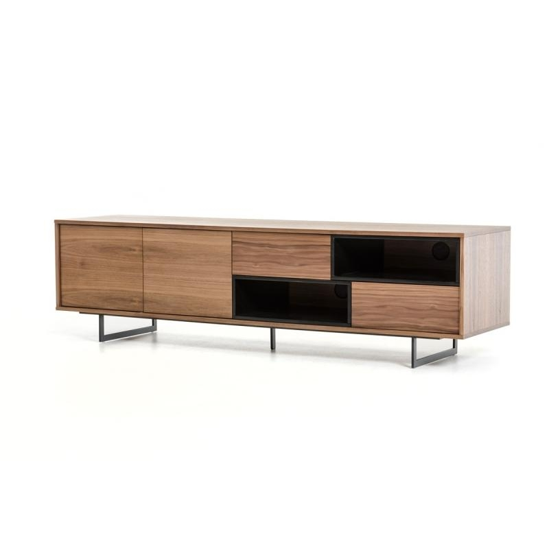 Buy The Modrest Torlonia Modern Walnut & Black Tv Standvig Within Most Up To Date Modern Walnut Tv Stands (View 20 of 20)