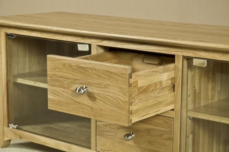 Buy Tuscany Oak Tv Unit – Large With Glass Door Online – Cfs Uk Within Current Oak Tv Cabinets With Doors (View 10 of 20)
