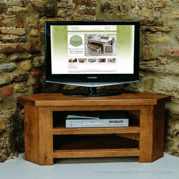 Buy Tv Units & Corner Tv Stands | Uk Made Wood Rustic Plank Furniture Intended For Most Popular Low Corner Tv Stands (View 6 of 20)