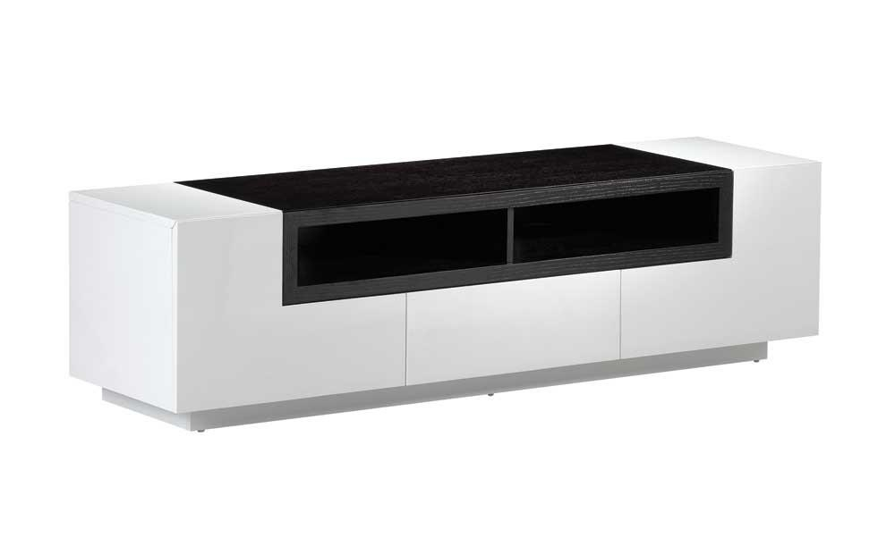 Buy Tv002 White Gloss Dark Oak Tv Standj And M From Www In Latest White Wood Tv Stands (Image 7 of 20)