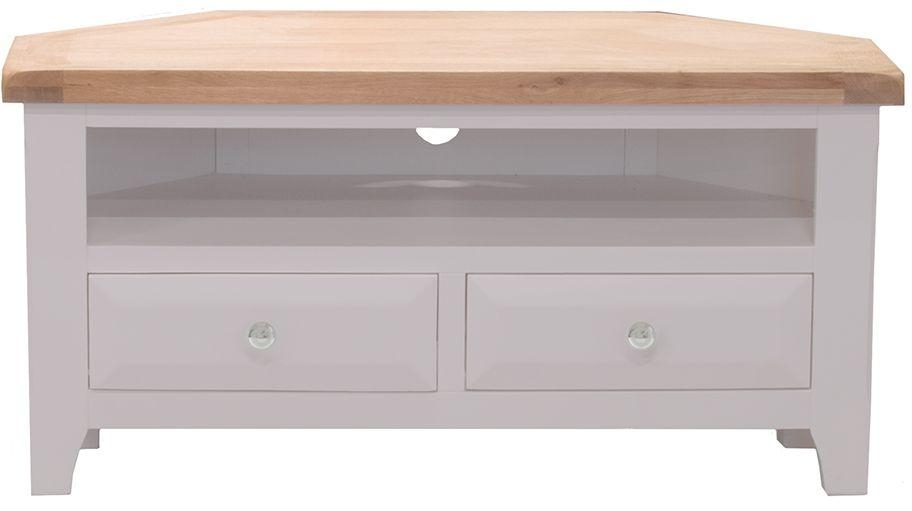 Buy Vida Living Clemence Grey Painted Tv Unit – Corner Online – Cfs Uk Within Most Up To Date Painted Corner Tv Cabinets (Image 4 of 20)