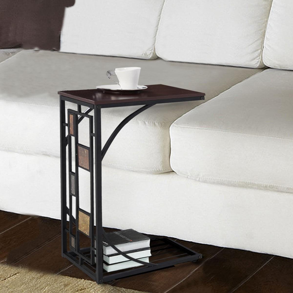 C Shaped Sofa End Side Table – End Tables – Accent Tables – Tables With Sofa Snack Tray Table (Image 2 of 21)