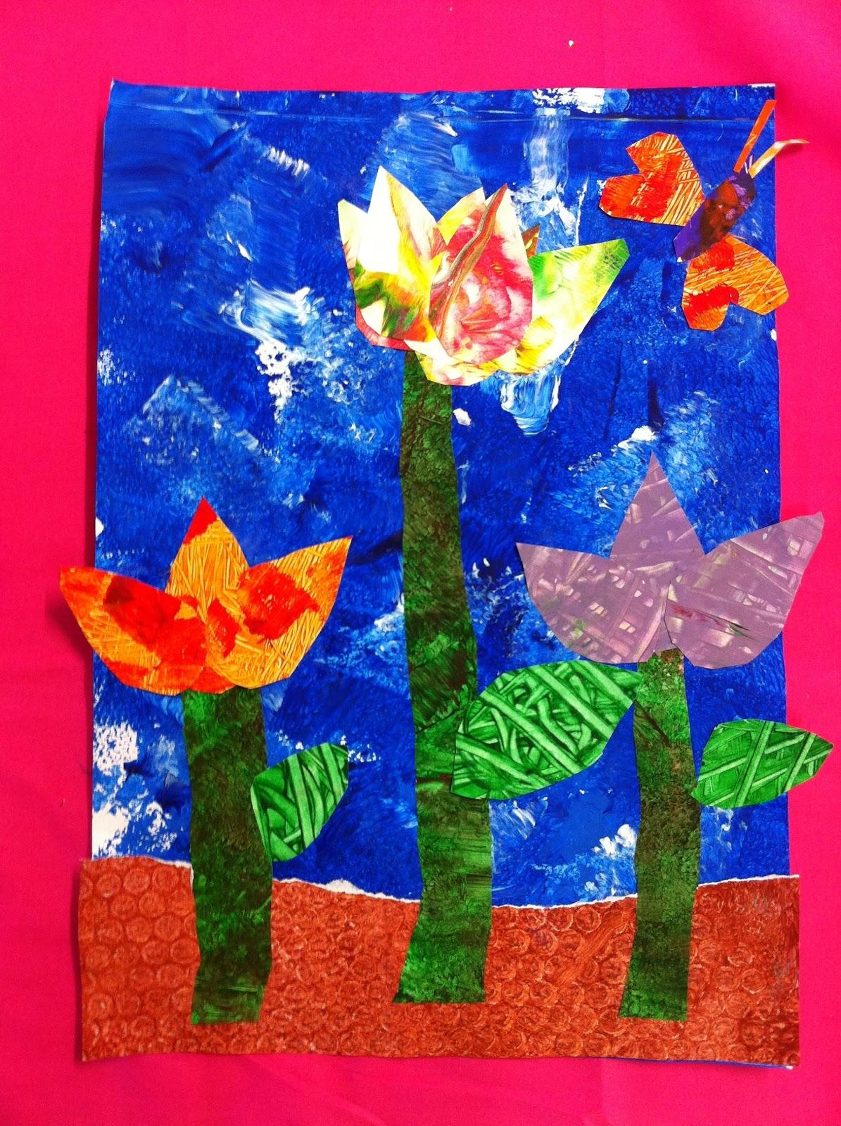 Cac Primary Art: Prep S Eric Carle Inspired Flower Collage Inside Eric Carle Wall Art (Image 3 of 20)