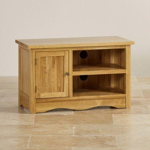Cairo Small Tv + Dvd Cabinet In Natural Oak | Oak Furniture Land Within Most Recently Released Small Oak Tv Cabinets (Image 6 of 20)