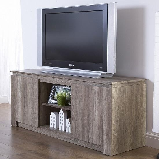 Caister Wooden Lcd Tv Stand In Oak With 2 Doors 27366 Inside 2018 Grey Wood Tv Stands (View 7 of 20)