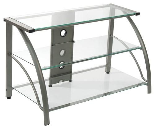 Calico Designs Stiletto 3 Tier Glass Tv Stand For Most Flat Panel In Best And Newest White Glass Tv Stands (Image 5 of 20)