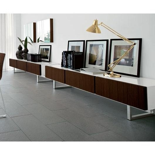 Calligaris Seattle Low Cabinet With 3 Drawers – White Lacquer And In Most Popular Low Long Tv Stands (View 15 of 20)