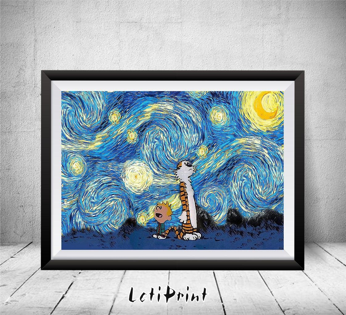 Calvin And Hobbes Starry Night Calvin And Hobbes Art Print With Calvin And Hobbes Wall Art (Image 5 of 20)