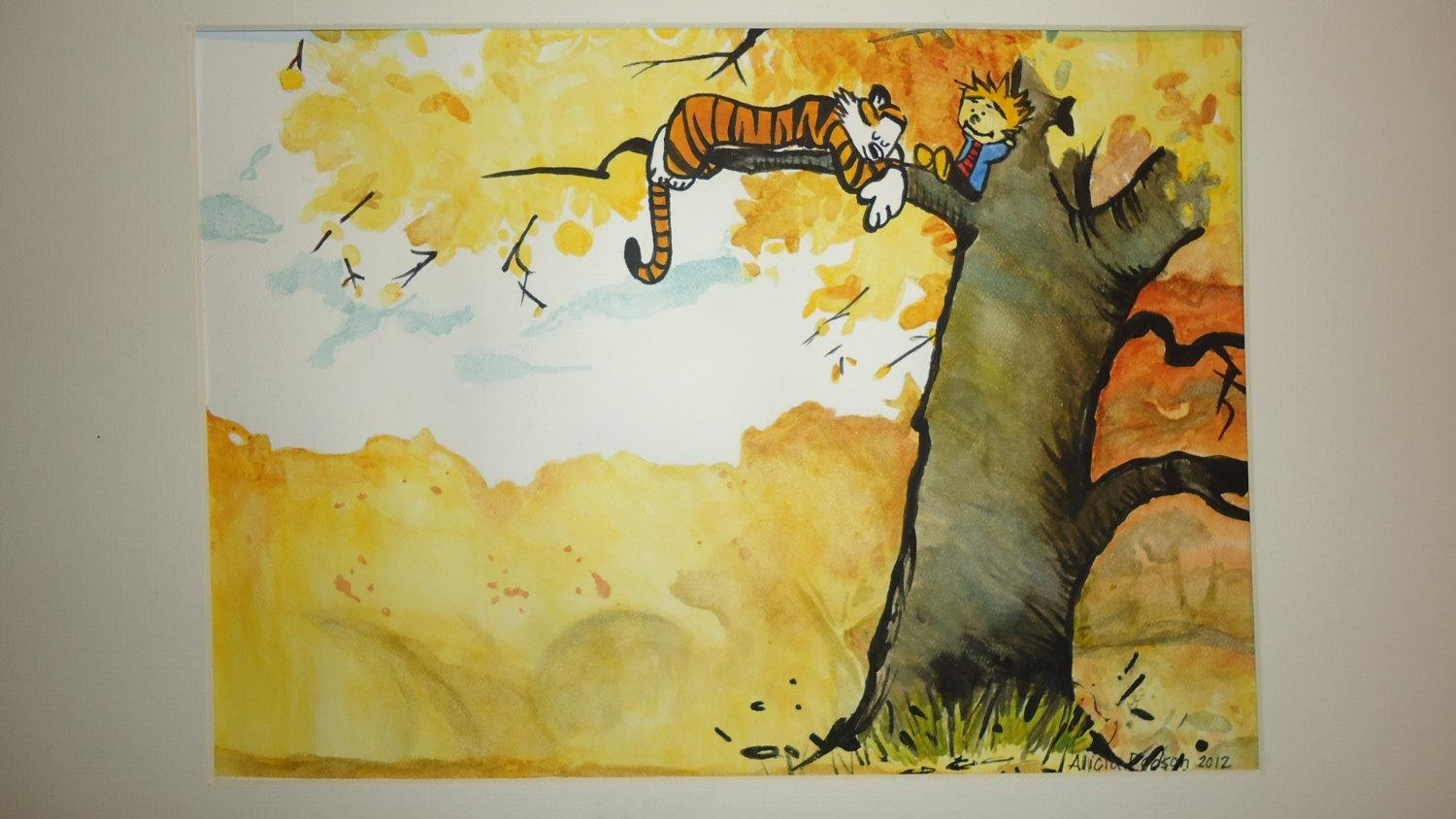 Calvin And Hobbes Watercolor Painting For Calvin And Hobbes Wall Art (Image 8 of 20)