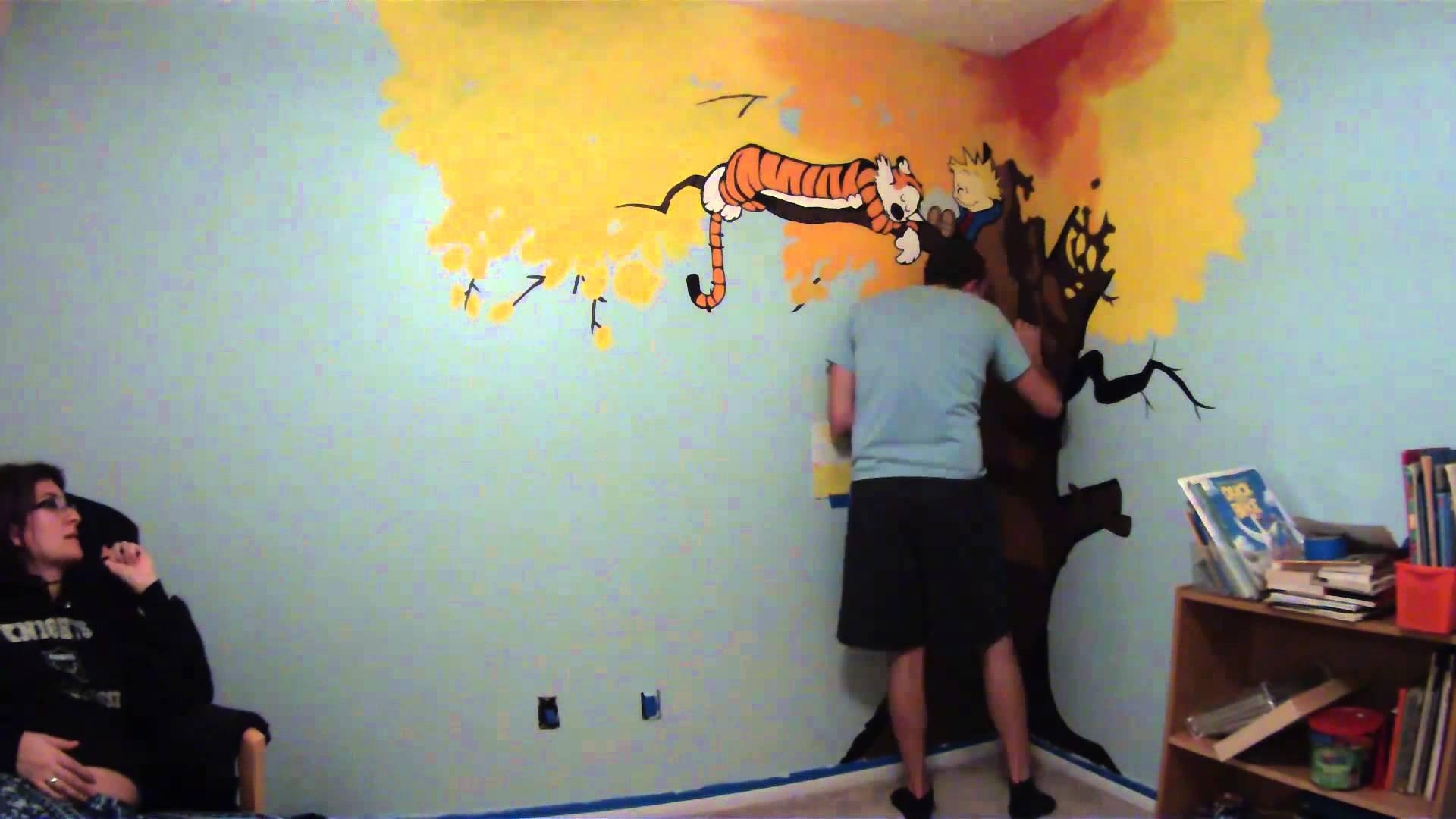 Calvin & Hobbes Nursery Mural Painting Timelapse – Youtube For Calvin And Hobbes Wall Art (Image 1 of 20)