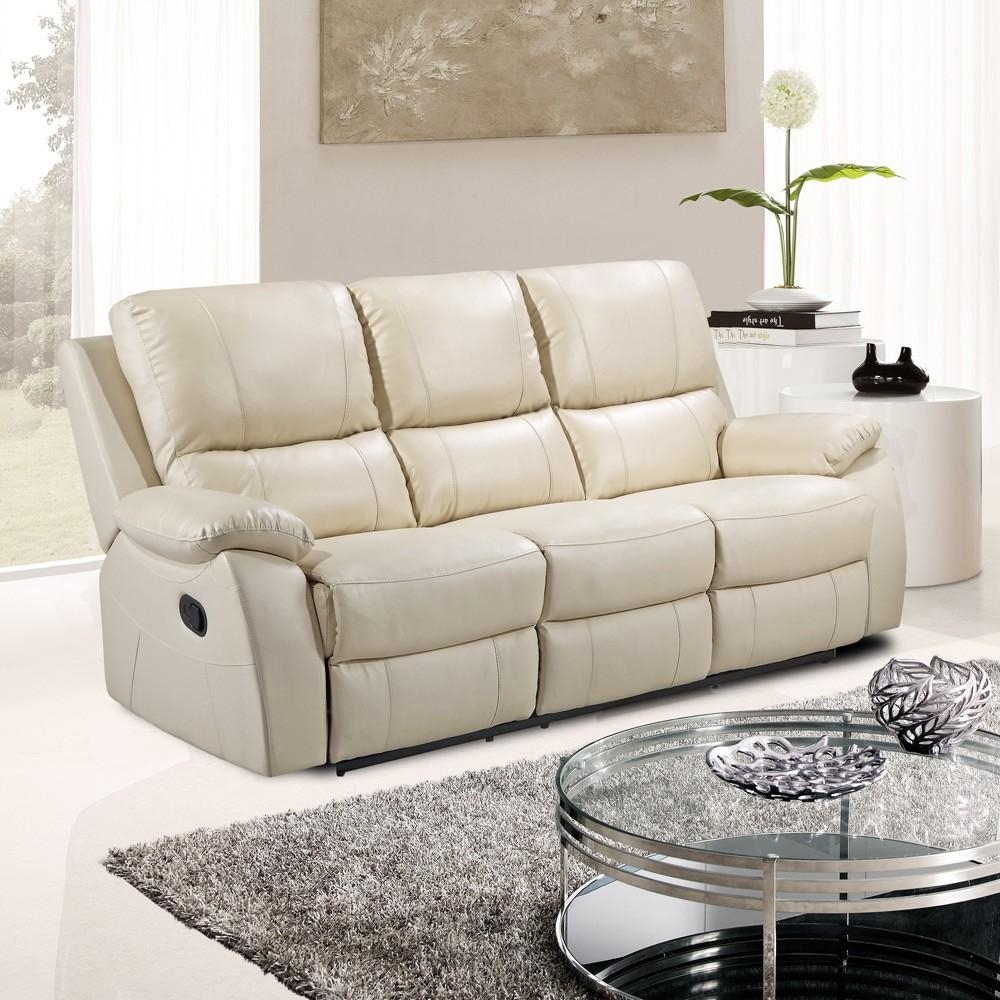 Cameo Ivory Cream Leather Reclining Sofa Collection In Ivory Leather Sofas (View 7 of 20)