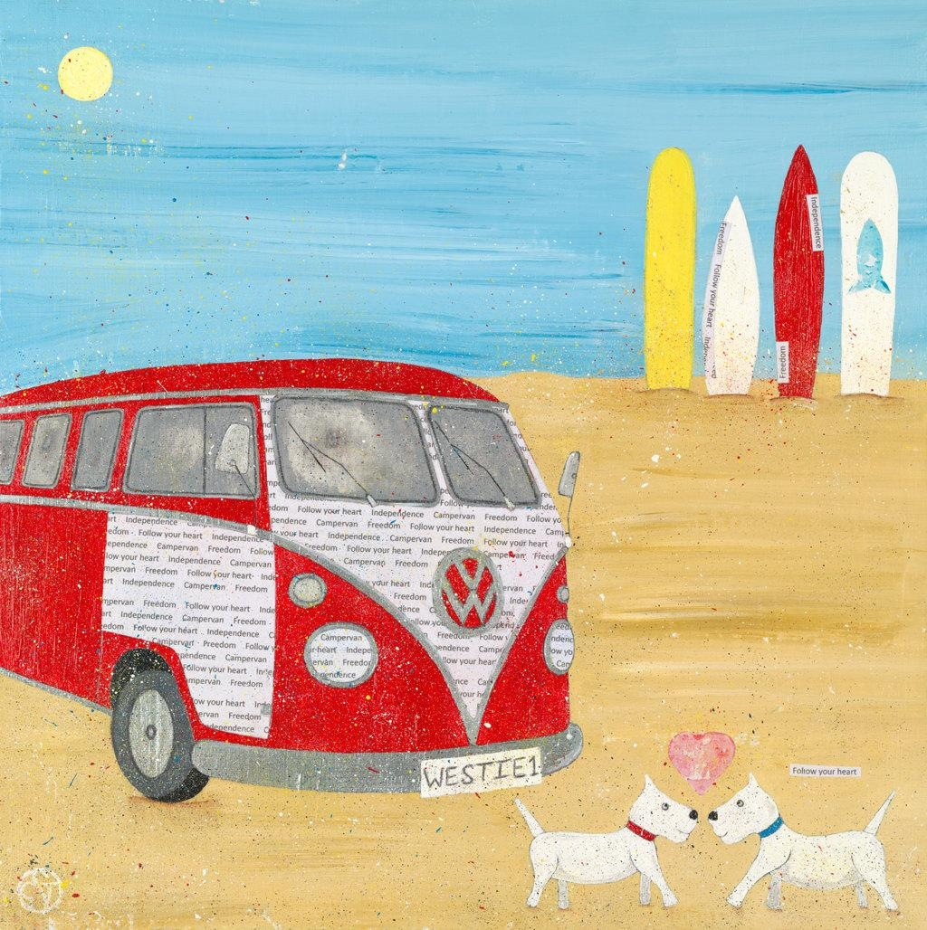 Campervan Painting Canvas Beach Art Whimsical Beach Art For Westie Wall Art (Image 3 of 20)