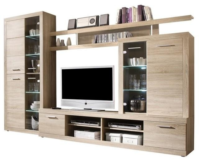 Cancun Wall Unit Modern Entertainment Center Tv Stand, Oak For Recent Tv Stands In Oak (Image 5 of 20)