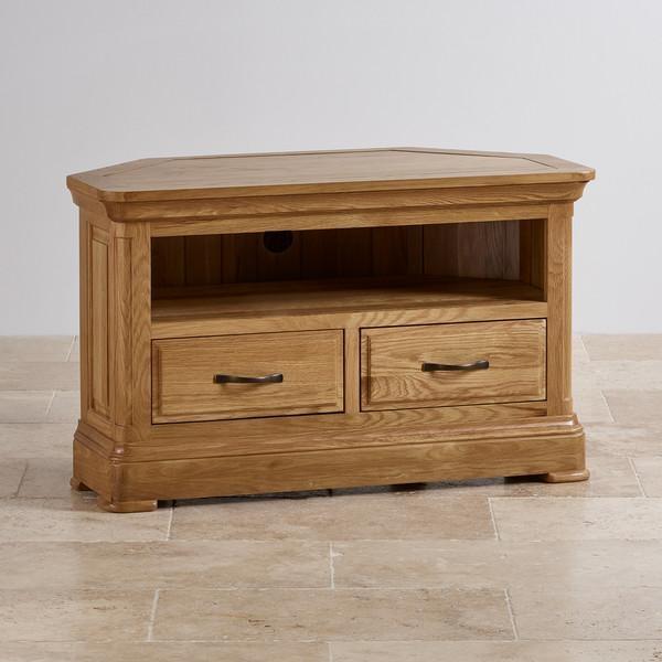 Canterbury Corner Tv Cabinet | Solid Oak | Oak Furniture Land Intended For Most Popular Solid Oak Corner Tv Cabinets (Image 6 of 20)