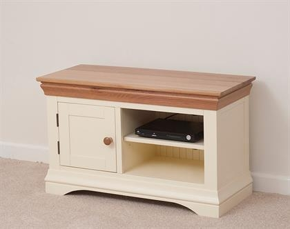 Canterbury Oak And Painted Small Tv Cabinet | Wnl021 | Right Price Within Recent Cream Tv Cabinets (Image 7 of 20)
