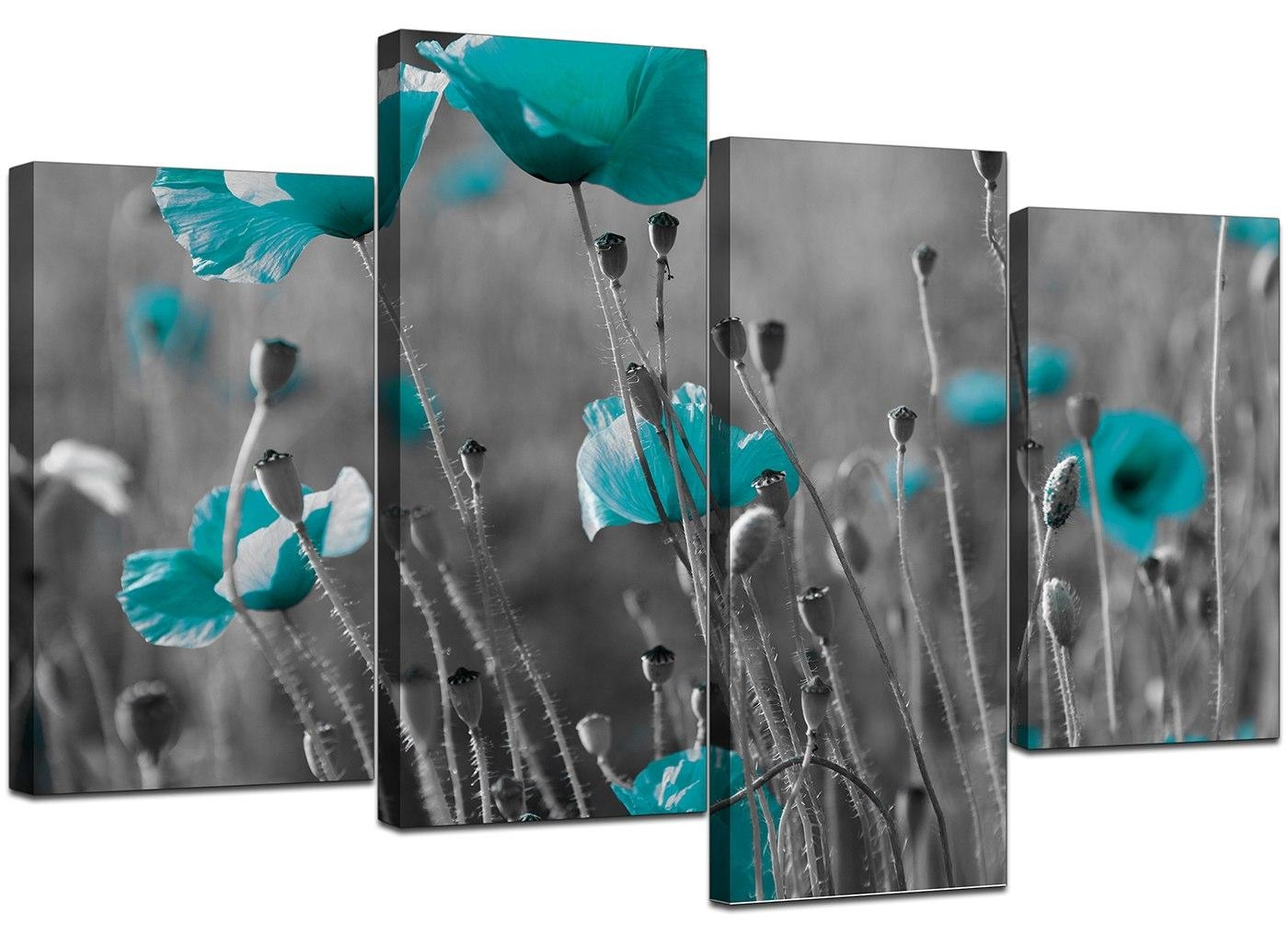 Canvas Art Of Teal Poppies In Black & White For Your Office Intended For Teal And Black Wall Art (View 11 of 20)