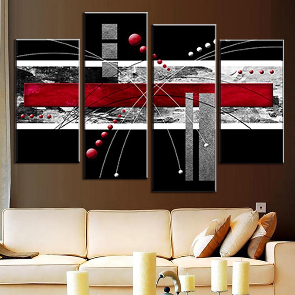 Canvas Pad Picture – More Detailed Picture About 4 Pcs/set Canvas Throughout Red And Black Canvas Wall Art (Image 9 of 20)