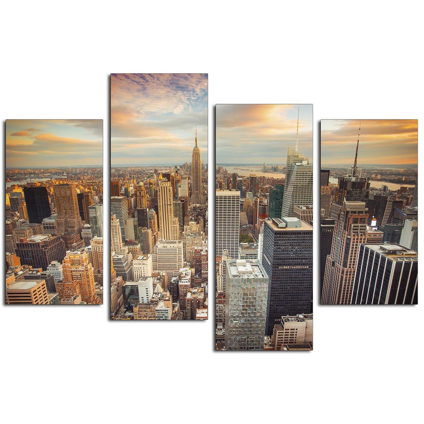 Canvas Prints Of The New York Skyline For Your Living Room – 4 Panel Pertaining To Inexpensive Canvas Wall Art (Image 5 of 20)