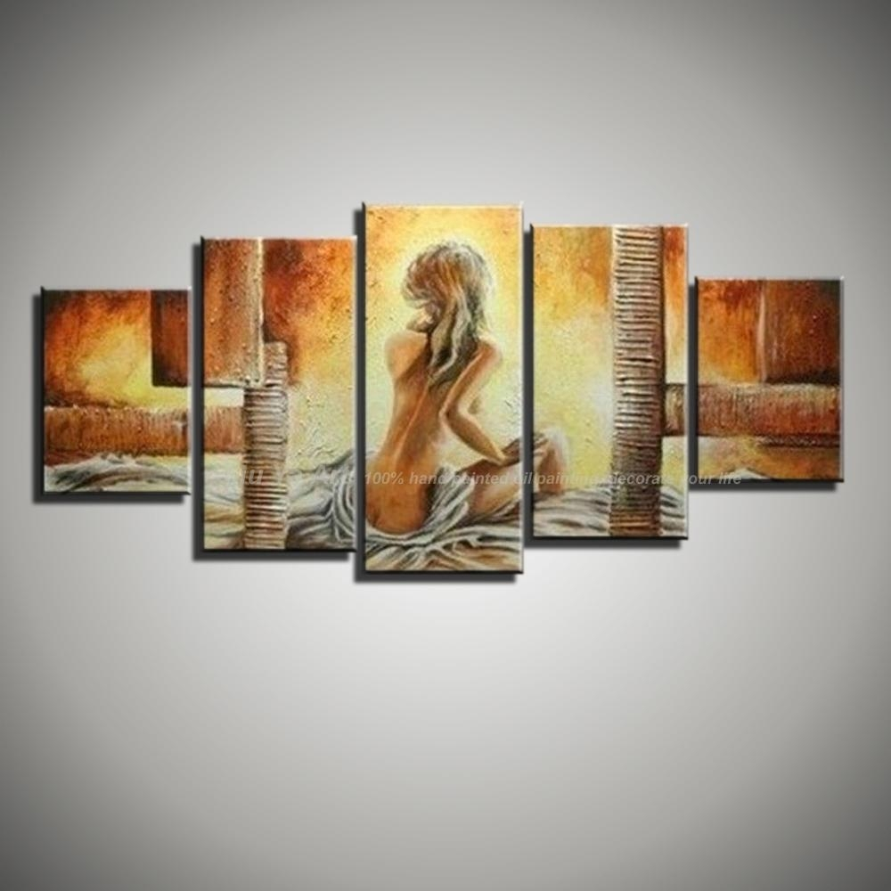 Canvas Wall Art Modern Abstract Sexy Lady Nude Art Picture Hand Throughout Five Piece Wall Art (View 11 of 20)