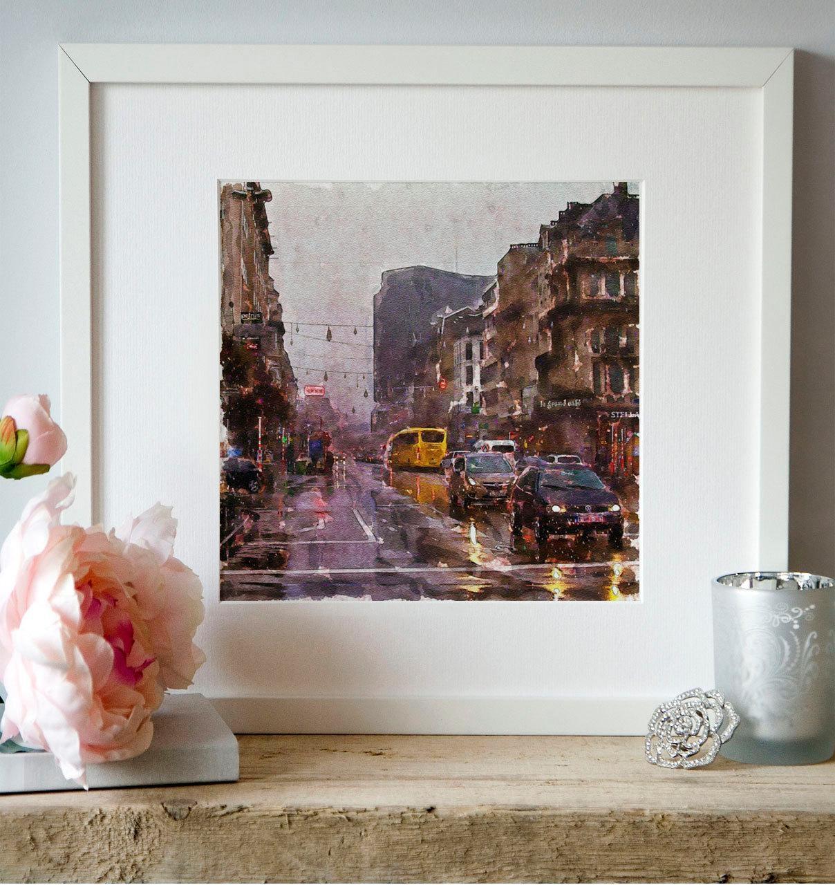 Car Traffic Rain Watercolor Painting Wall Art Aquarelle Paris With Parisian Wall Art (Image 5 of 20)