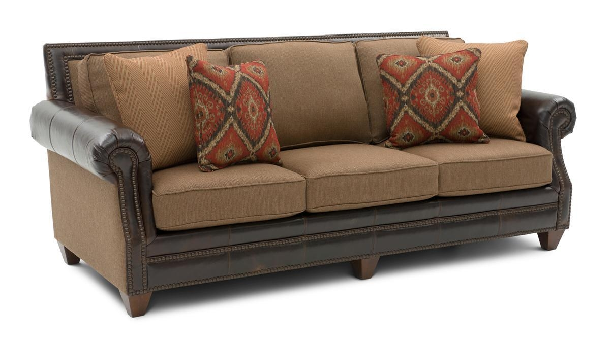 Cardigan Cinnamon Leather/fabric Sofa | Weir's Furniture With Regard To Leather And Material Sofas (Image 3 of 21)