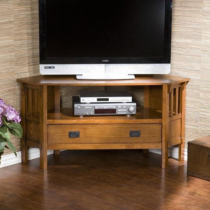 Carson Oak Corner Tv Stands At Brookstone—Buy Now! Throughout Most Popular Dark Wood Corner Tv Stands (View 16 of 20)