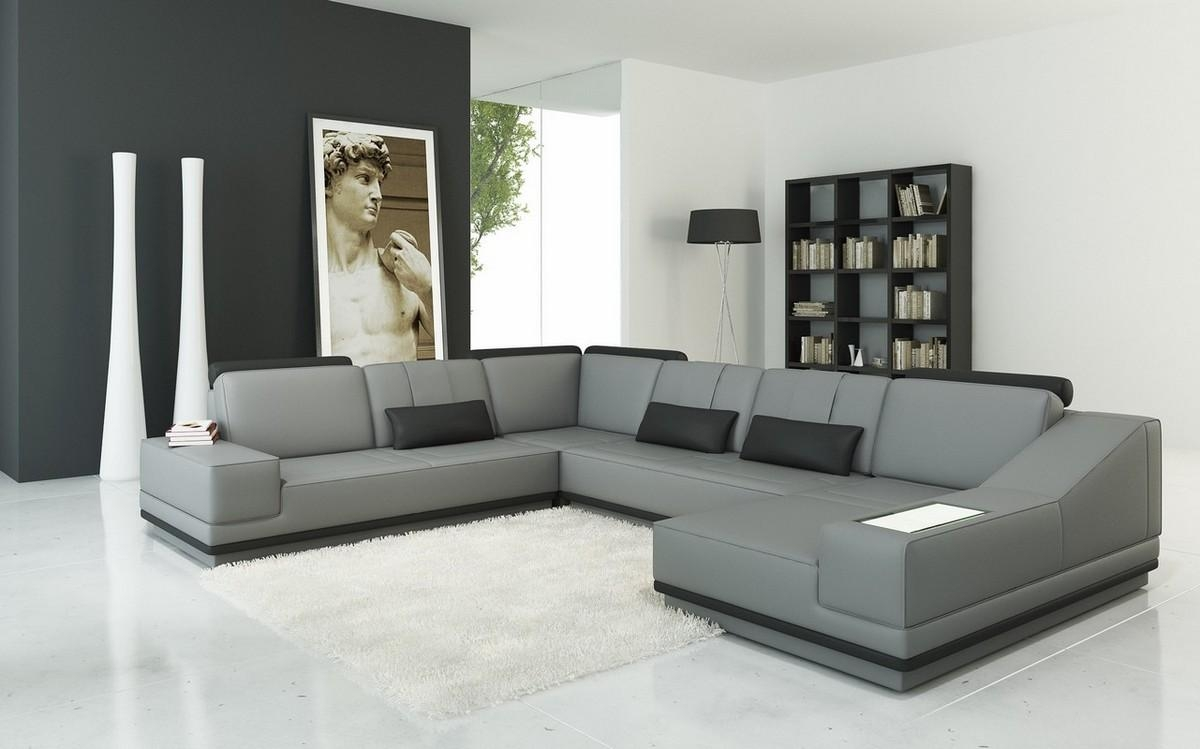 Casa 5068 Modern Grey And Black Leather Sectional Sofa Within Gray Leather Sectional Sofas (Image 2 of 21)