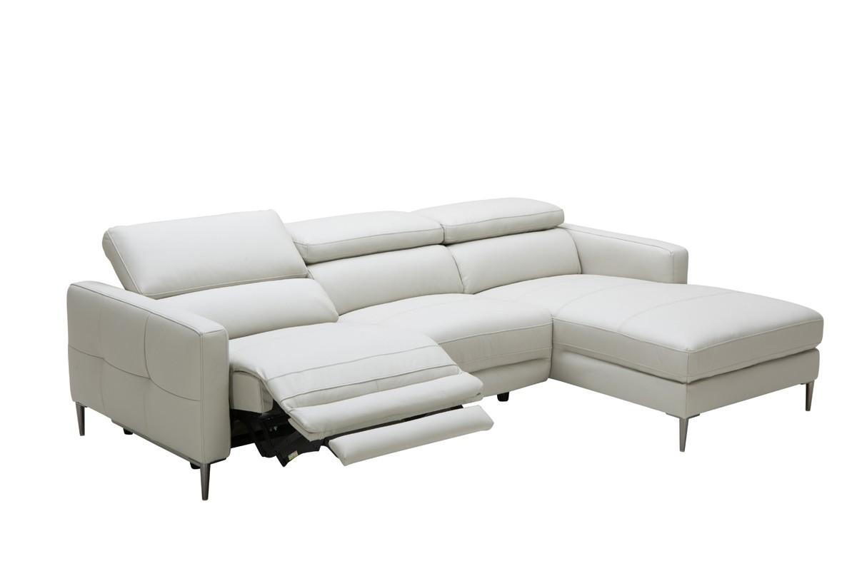 Casa Booth Modern Light Grey Leather Sectional Sofa W/ Electric For Sectional Sofa Recliners (Image 4 of 20)
