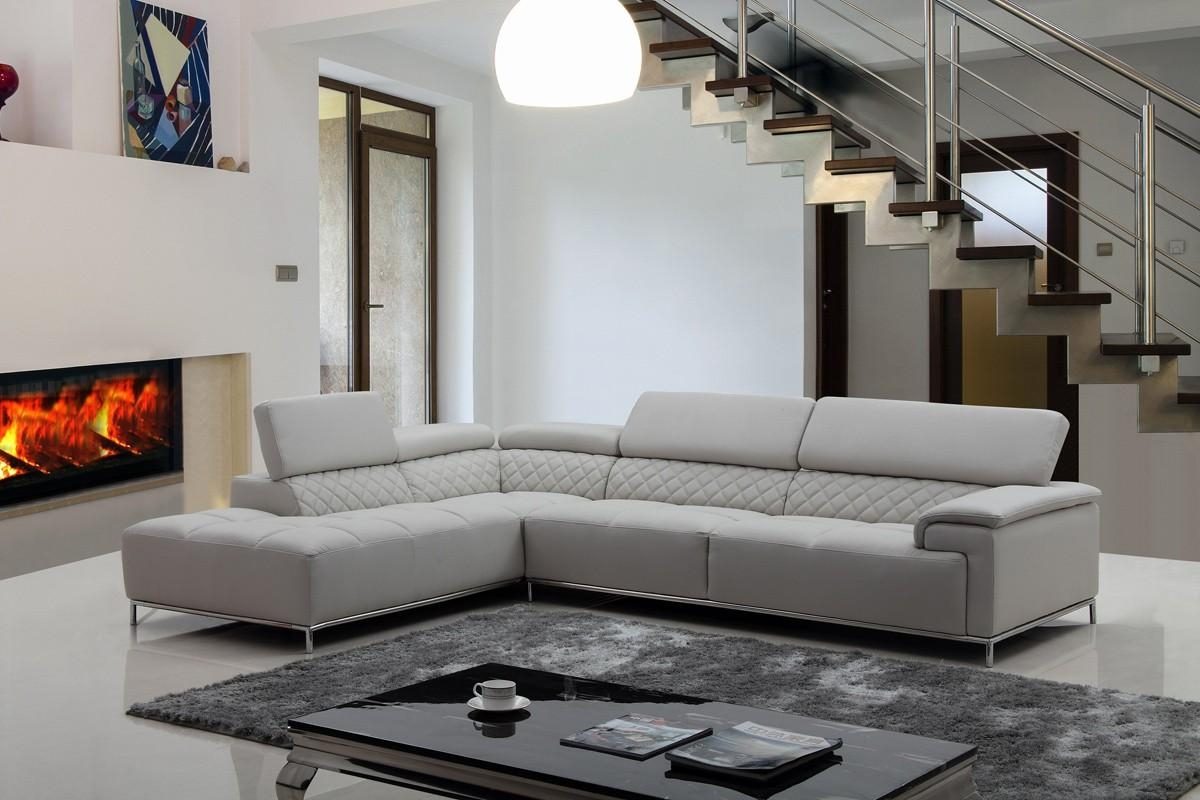 Casa Citadel Modern Light Grey Eco Leather Sectional Sofa W/ Audio Within Gray Leather Sectional Sofas (Image 3 of 21)