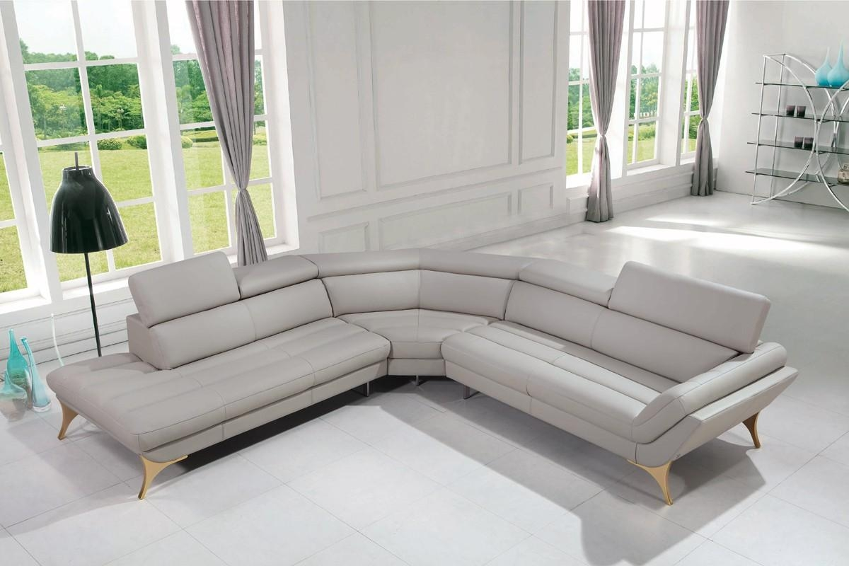 Casa Graphite Modern Grey Leather Sectional Sofa Within Gray Leather Sectional Sofas (Image 4 of 21)