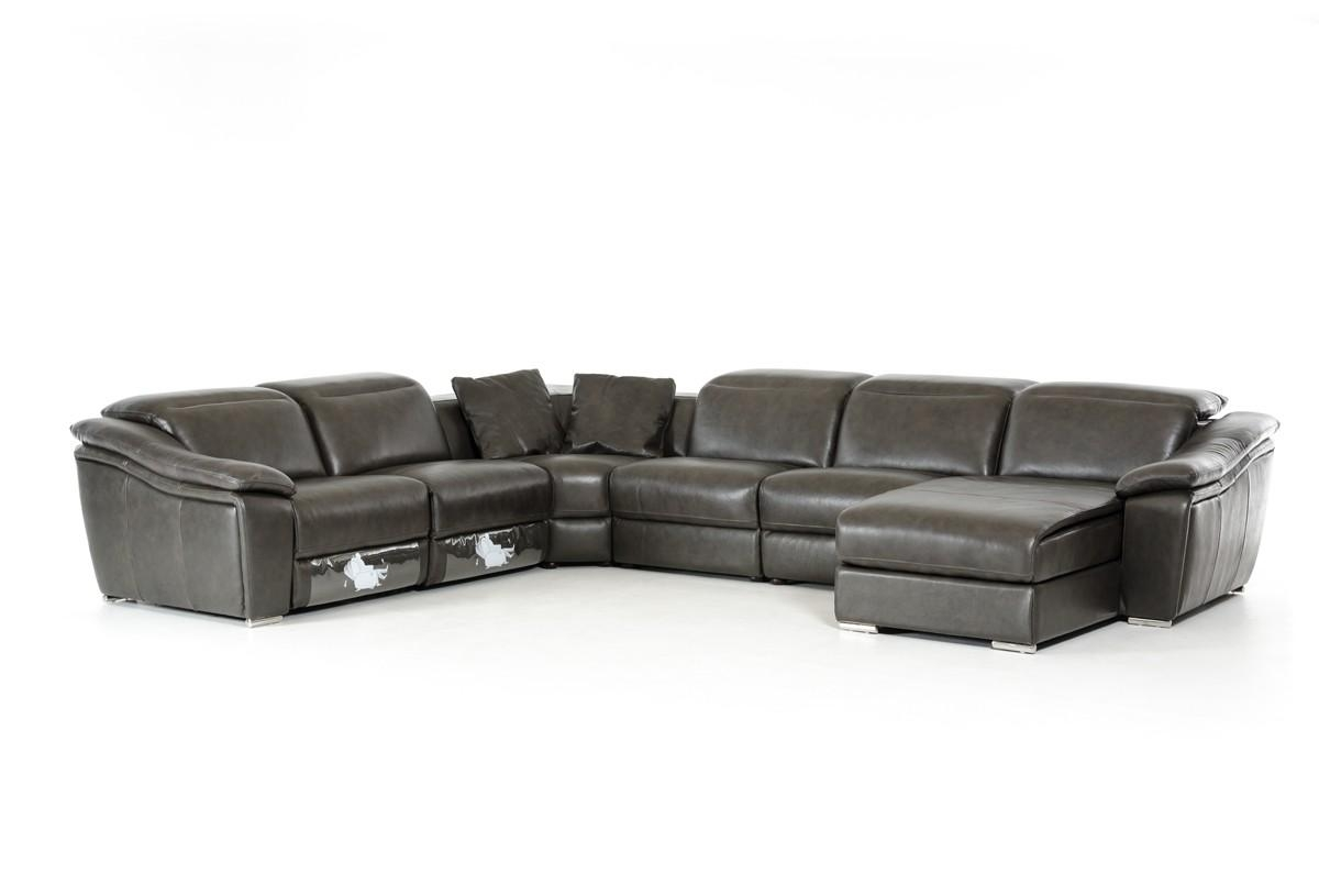 Casa Jasper Modern Dark Grey Leather Sectional Sofa Regarding Gray Leather Sectional Sofas (View 11 of 21)
