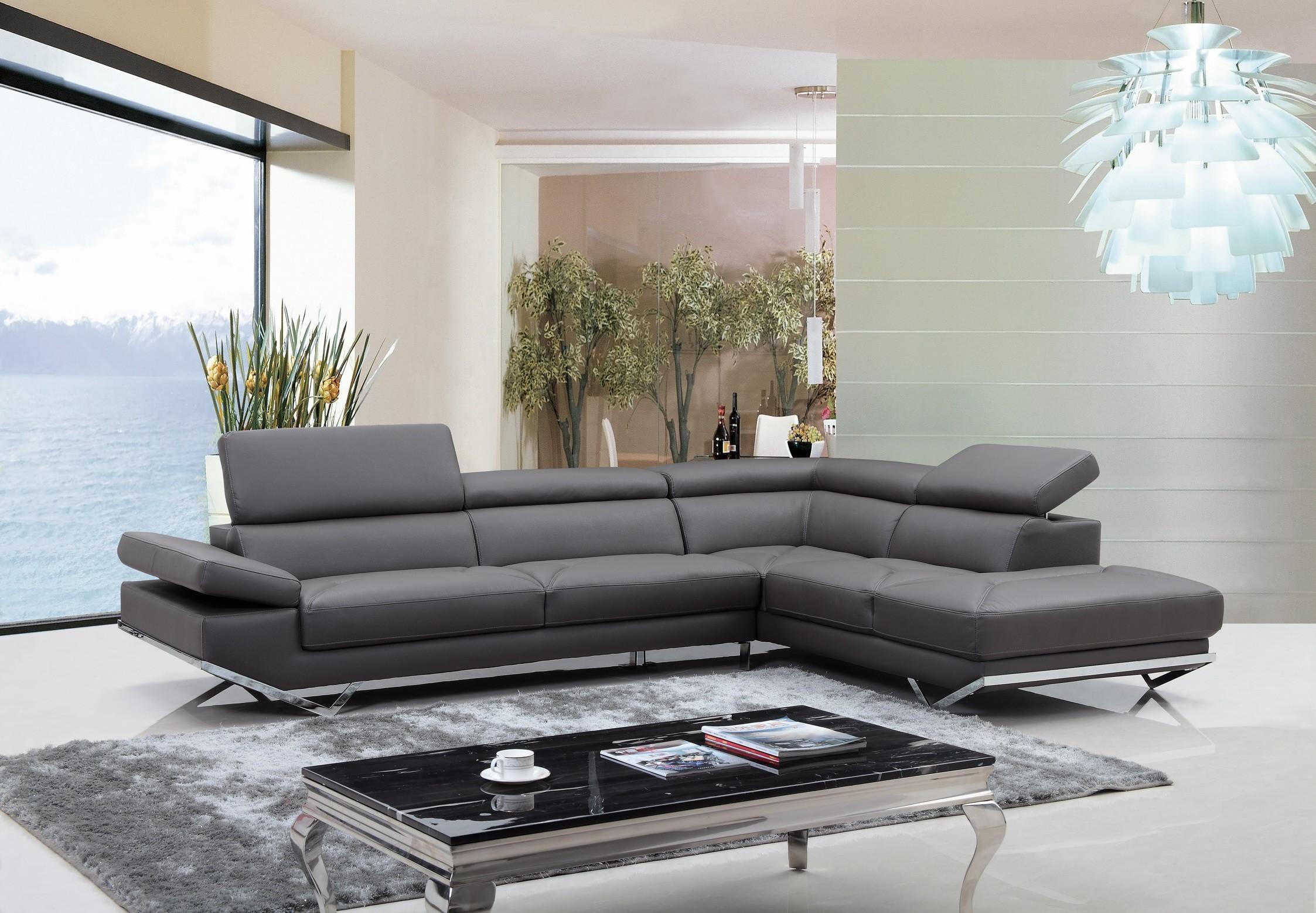 Casa Quebec Modern Dark Grey Eco Leather Sectional Sofa Intended For Gray Leather Sectional Sofas (Image 6 of 21)