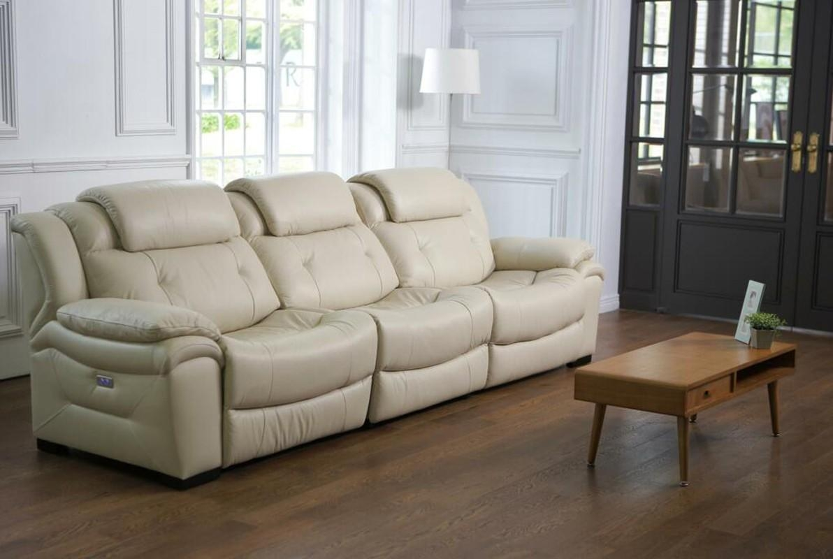 Casa Samson Modern Ivory Leather Sofa W/ Electric Recliners Throughout Ivory Leather Sofas (Image 4 of 20)