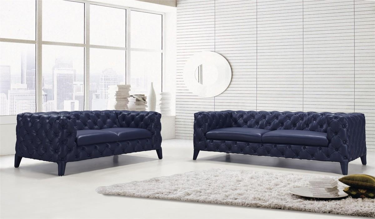 Casa Soma Modern Blue Tufted Leather Sofa Set in Blue Tufted Sofas