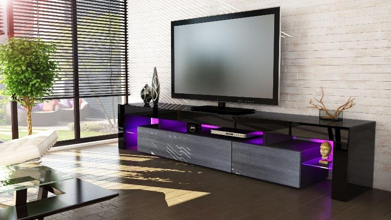 Catania V3 Media Tv Unit Black Frame | Area11 Intended For Most Current Black Gloss Tv Units (View 13 of 20)