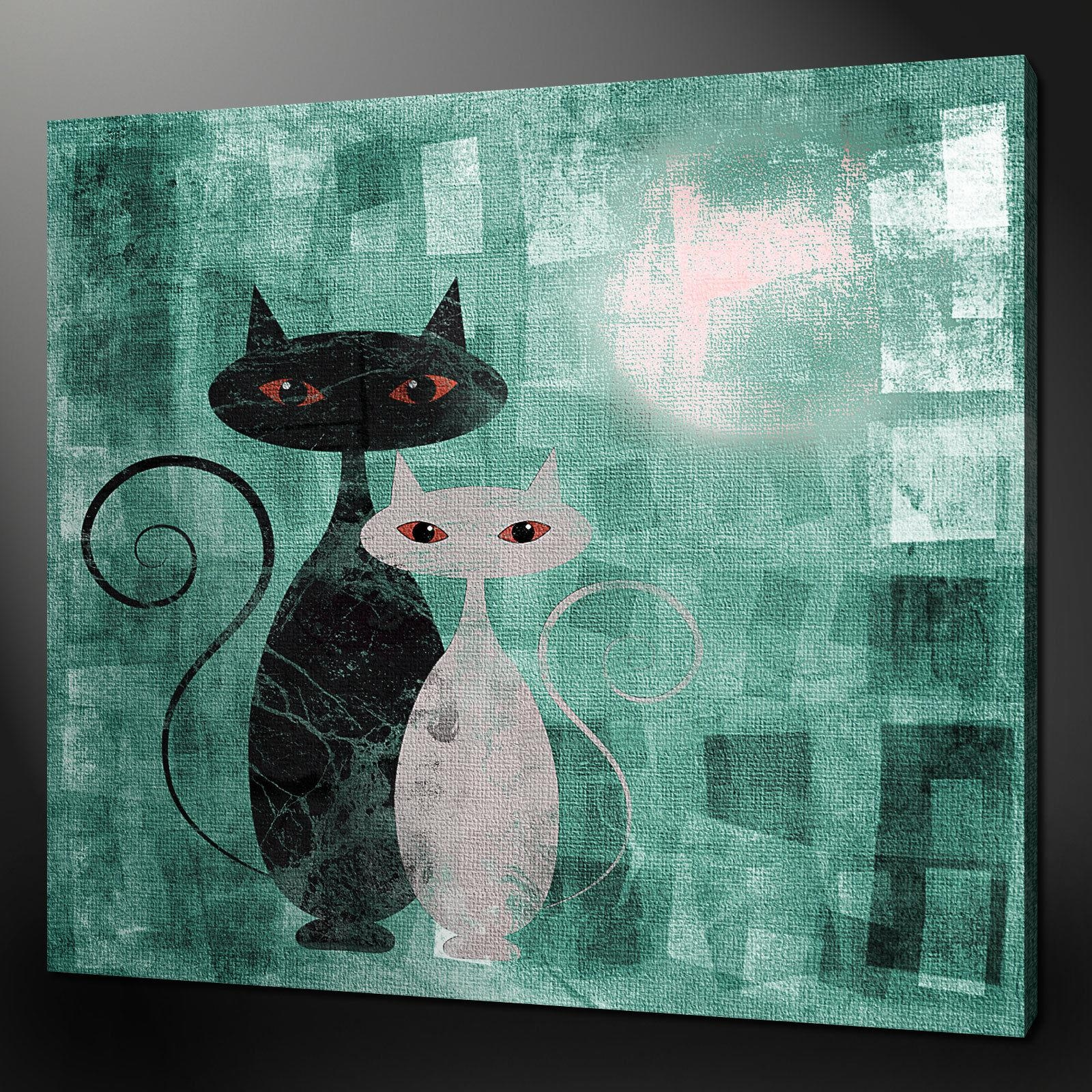 "Cats Art Deco Teal Aqua Canvas Wall Art Pictures Prints 24""x24 With Regard To Teal Wall Art Uk (View 2 of 20)"